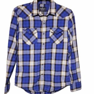 AEO Seriously Soft Blue Plaid Flannel Shirt